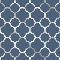 Sample Origin Blue Quatrefoil Wallpaper from the Symetrie Collection by Brewster Home Fashions