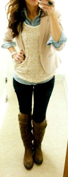 Sequined shirt over denim button down with blazer and riding boots. CUTE!