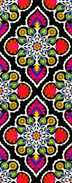Contrasting black and multi-colored energetic pattern.