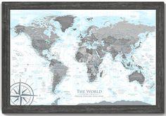 106 best World Map Push Pin Framed Maps - GeoJango Maps images on ...