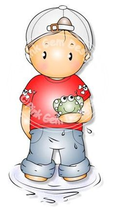 Digital Digi Andy with Frog Stamp by PinkGemDesigns on Etsy