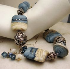 Lampwork Bracelet and Earrings Set, Sterling Silver Blue Beige Lampwork Beads Beaded Jewelry  'Denim Summer'