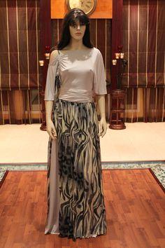 Grey dress in chiffon & stretch fabric