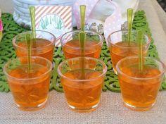 Easter Appetizer for kids - - orange jello, green spoons = carrots