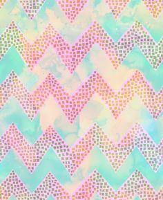 Little Squares Chevron - Pastel Art Print by Schatzi Brown