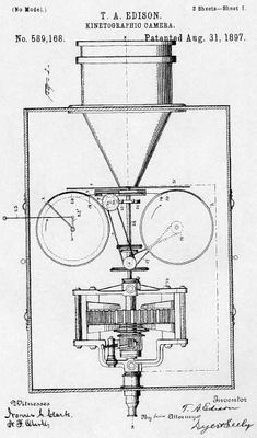 Kinetograph (W.K-L. Dickson-Thomas Edison)    Camera (the first to use perforated film stock) for producing subjects for the Kinetoscope peepshow machine. Developed over several years, and shotting commercially-used films from 1893