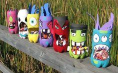 kreatives basteln monster halloween außendeko farbige flaschen