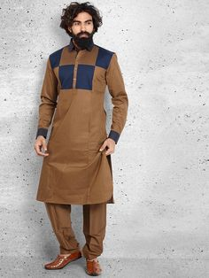 Shop Brown cotton solid pathani suit online from G3fashion India. Brand - G3, Product code - G3-MPS0410, Price - 4695, Color - Brown, Fabric - Cotton,