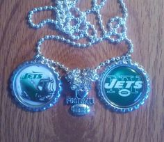 New York jets bottle cap necklace by LegacySportsJewelry on Etsy