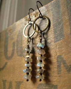 Labradorite Earrings Rustic Earrings with von ArtifactsEtCetera