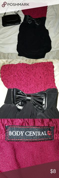 Red and black party dress Never worn!! but the tags have been taken off. Very cute!! Belt attached. Size small. Body Central Dresses Mini