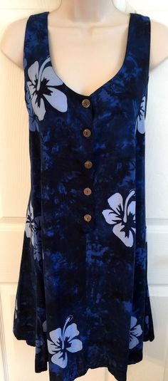 Hawaiian Dress M Rayon Pullover Blue Batik Flowers Swim Coverup | eBay