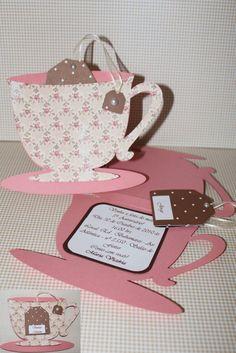 Convite de chá de bonecas