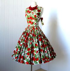 vintage 1950's dress ...pretty JERRY GILDEN red poppies floral novelty print full skirt pin-up dress with bows