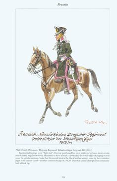 Prussia: Plate 39 Neumark (6th) Dragoon Regiment, Volunteer Jäger Sergeant, 1813~1814