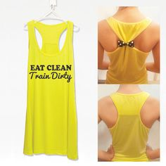 Eat clean train dirty fitness workout tank top with detachable bow   workoutcloth