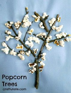 Trees - a fun kids craft to make with sticks and leftover popcorn! Popcorn Trees - a fun kids craft to make with sticks and leftover popcorn!Popcorn Trees - a fun kids craft to make with sticks and leftover popcorn! Popcorn Crafts, Popcorn Tree, Daycare Crafts, Toddler Crafts, Preschool Crafts, Kid Crafts, Kids Food Crafts, Craft Kids, Craft Projects
