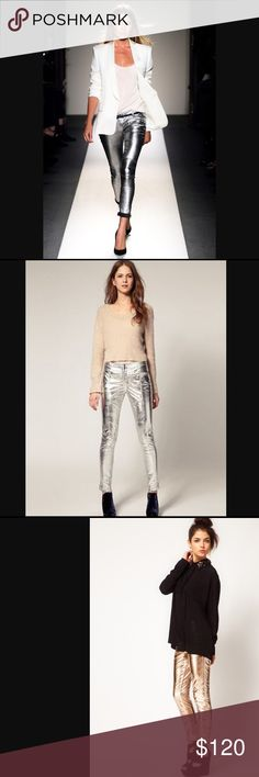 Nasty Gal Collection Silver Leather Pant Suuuuuer soft buttery leather...in SILVER!! Fully lined! Nasty Gal Pants Skinny
