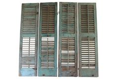 14.25x1.25x57 Ask $1899wg..Missing hardware...Wall Art, not functional...Antique Wood Shutters, S/4