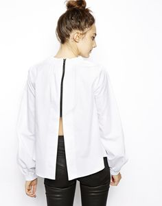 ASOS Cotton Top with High Neck and Zip back detail