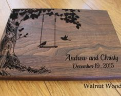 Personalized Wood Cutting Board, Love Birds on a Swing, Cheese Board, Chopping Block, Gift for the Couple, Bridal Shower, Laser Engraved
