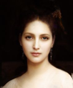 """William Adolphe Bouguereau - portrait painting"". That painting looks like the painter used a diffusing lens (""soft focus""), of Hollywood B&W fame era."