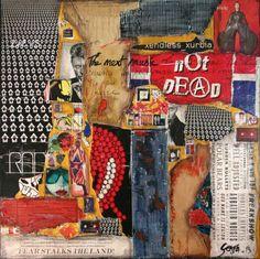 Tableau collage abstrait sur le thème de la musique. Affiches déchirées, magazines, K7 audio, pièces de carton, papiers colorés, peinture et vernis acryliques ont permis la réalisation de cette toile contemporaine.