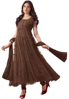 Coffee Color Net Anarkali Suit