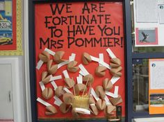 """Teacher Appreciation Bulletin Board Idea, though I am thinking of back to school with, """" We are fourth-a-nate to have you in our class!"""""""