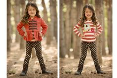 www.frostedproductions.com | #utah #commercial #photographer #kids #fashion #fall #outfit #ideas #polkadots #cute #little #girl #brown #hair #pine #trees