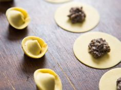 In the world of labor-intensive foods, tortellini definitely fall into the realm of time-consuming, repetitive tasks. To make a meal for two will take you around half an hour of piping and folding. But it's time well-spent, I promise! They're delicate, flavorful showstoppers that also lend themselves well to cooking with a partner or group of friends. Make it a social event and the time will fly. Plus you'll feel pretty baller doing it.
