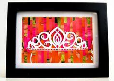 Princess Crown Original Wall Art - Collage Silhouette Hot Pink Baby Girl