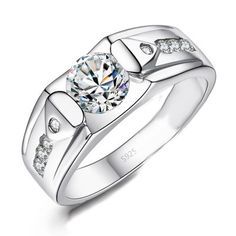 Cubic Zirconia Mens Engagement Ring with Customized Engraving