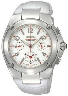 Seiko Women's SRW891 Sportura Chronograph White Dial White Leather Watch seiko-sportura.com
