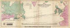 Map of the 1858 Atlantic submarine cable. This was the first somewhat successful attempt to connect the telegraph networks in the eastern and western hemispheres. This cable was not sturdy enough,. Underwater Cable, World History Facts, History Pics, Submarine Cable, James Buchanan, Russian Revolution, Global Economy, Queen Victoria, Newfoundland