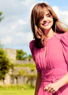 Jenna Coleman, pink dress, feminine look,young and beautiful, medium hair