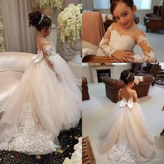 Adorable Ball Gown Flower Girls Dress Bow Long Christmas Dresses For Girl Long Sleeves Lace Kids Wedding Gown Teens Formal Wear Long Sleeve Flower Girls Dress Communion Dress Pageant Girls Dress Online with $109.72/Piece on Justforyou001's Store | DHgate.com