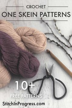 Looking for a free one skein crochet pattern that you can make today? We have over 10 one skein patterns: crochet headbands, hats, baby loveys, scarves, and more! One Skein Crochet, Quick Crochet, All Free Crochet, Crochet Round, Crochet Lovey, Crochet Stitches Patterns, Crochet Patterns For Beginners, Knitting Patterns, Hat Patterns