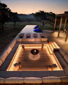 Dream Home Design, Modern House Design, Modern Backyard Design, Terrace Design, Modern Patio, Garden Design, Outdoor Fireplace Designs, Fireplace Ideas, Modern Outdoor Fireplace