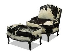 Beau Old Hickory Tannery   Black And White Cowhide Bergere Chair And Ottoman