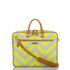 Chevron, neon, and neutral = I love it. Brahmin Neon Chevron Laptop Bag