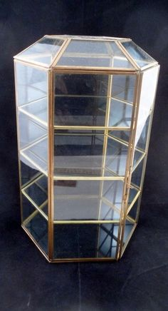 Vtg Domed Hexagon Six Sided Glass Tabletop Display Case Cabinet w/ Brass Chasing #UnbrandedGeneric