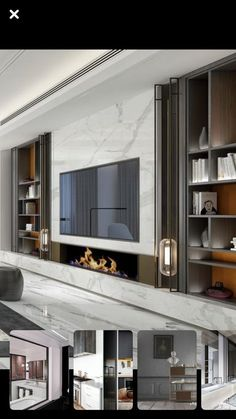 ideas for living room tv wall design fireplaces Living Room Tv, Living Room With Fireplace, Small Living Rooms, Living Room Lighting, Living Room Modern, Living Room Designs, Modern Tv Wall, Tv Wanddekor, Fireplace Tv Wall
