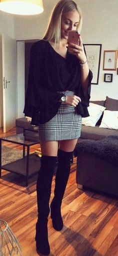 outfit with skirt and boots - outfit with skirt . outfit with skirt winter . outfit with skirt summer . outfit with skirt and boots . outfit with skirt fall . outfit with skirt jeans . outfit with skirt for school . outfit with skirt casual Fashion Night, Fall Fashion Outfits, Fall Fashion Trends, Mode Outfits, Look Fashion, Casual Outfits, Autumn Outfits, Feminine Fashion, Trendy Fashion