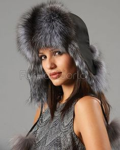 65ceb5a53feec Womens Fox Fur Trapper Hat with Pom Poms - Silver Fur Hat World