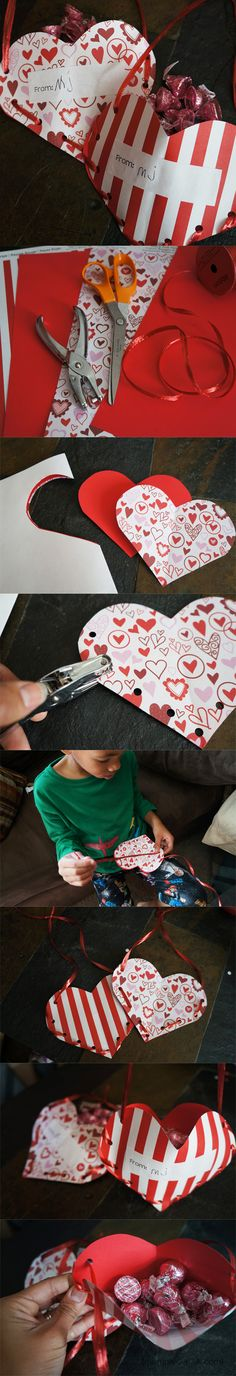 Valentine Treat Pockets. Cute Valentine's Day heart craft for kids!