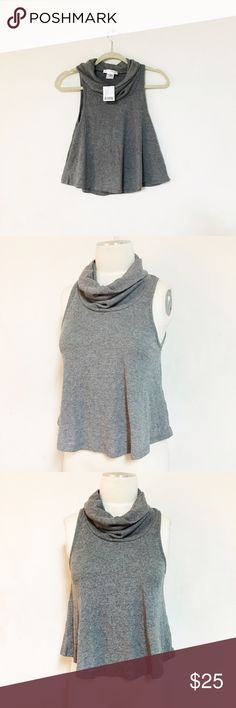 Urban outfitters cowl knit sweater top Cute cowl neck knit top from Urban Outfitters. Gray color. Nice and soft stretchy materials. NWT ✅avail sz XS & L Urban Outfitters Tops Tank Tops
