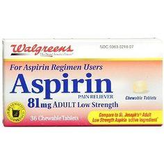 Walgreens Low Dose Aspirin 81 mg Chewable 36 Tablets Walgreens http://www.amazon.com/dp/B005N7ZC9E/ref=cm_sw_r_pi_dp_820cub0Q0431E