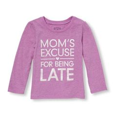 Image for Toddler Girls Long Sleeve Glitter 'Mom's Excuse For Being Late' Neon Graphic Tee from The Children's Place