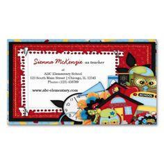 School theme business card (pinned by haw-creek.com)